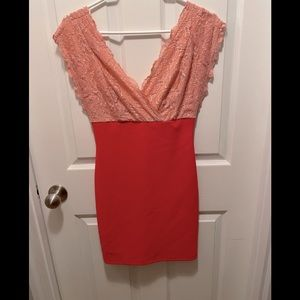 Two Tone Pink 1/2 Lace, 1/2 Body-con Dress Medium